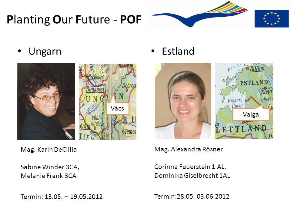 Planting Our Future - POF Mag. Alexandra Rösner Corinna Feuerstein 1 AL, Dominika Giselbrecht 1AL Termin:28.05. 03.06.2012 Ungarn Estland Mag. Karin D