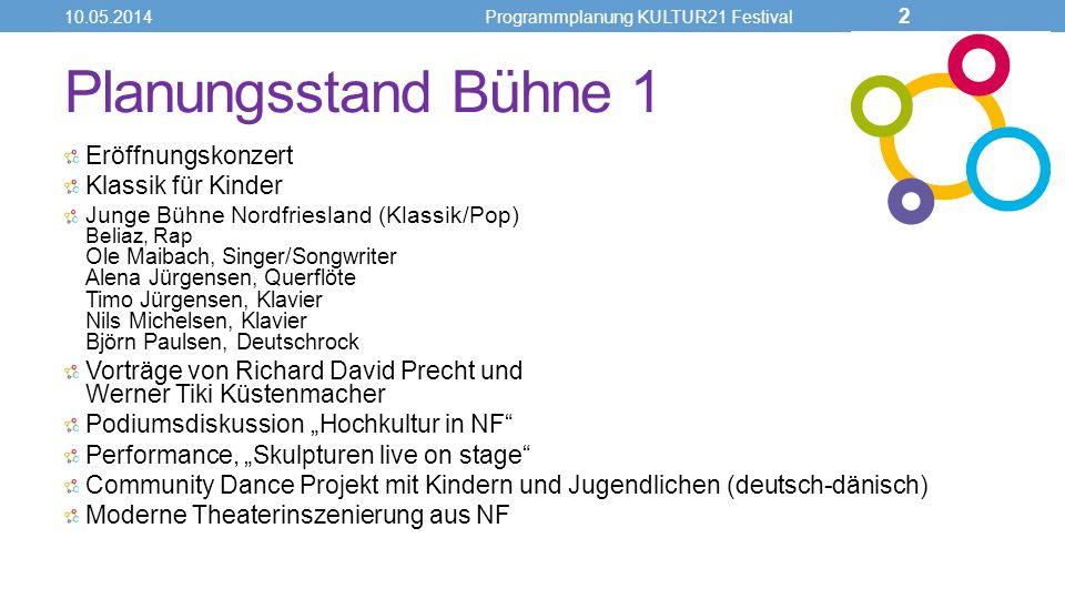 Planungsstand Bühne 1 Eröffnungskonzert Klassik für Kinder Junge Bühne Nordfriesland (Klassik/Pop) Beliaz, Rap Ole Maibach, Singer/Songwriter Alena Jü