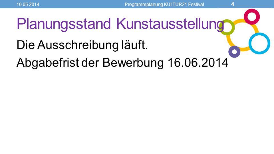 Planungsstand Kunstausstellung Die Ausschreibung läuft. Abgabefrist der Bewerbung 16.06.2014 10.05.2014Programmplanung KULTUR21 Festival 4