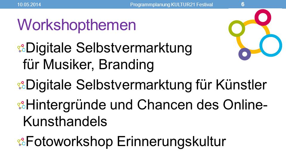 Workshopthemen Digitale Selbstvermarktung für Musiker, Branding Digitale Selbstvermarktung für Künstler Hintergründe und Chancen des Online- Kunsthandels Fotoworkshop Erinnerungskultur 10.05.2014Programmplanung KULTUR21 Festival 6
