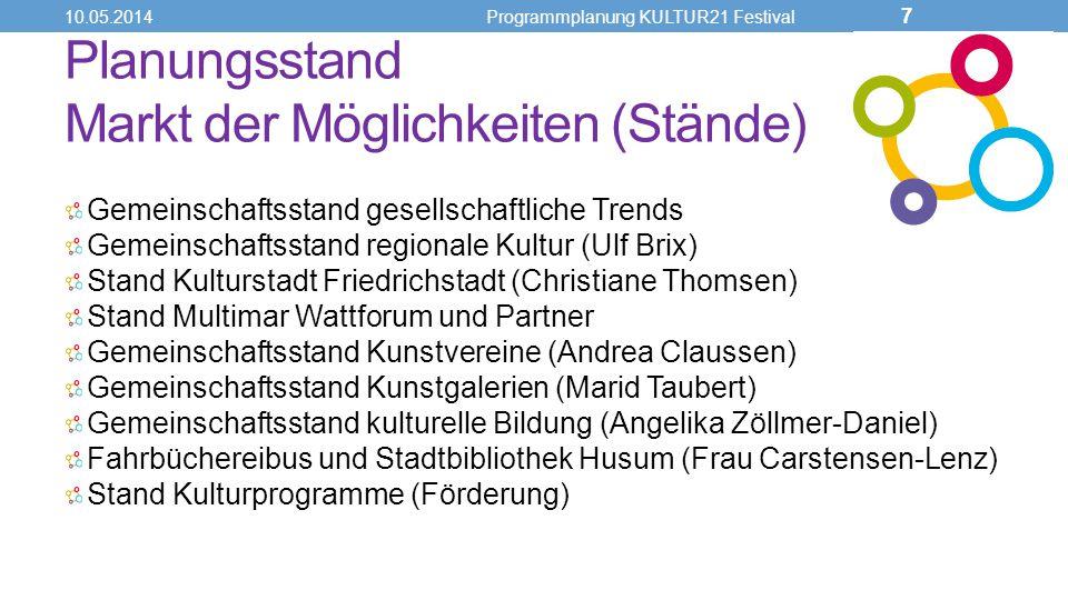 Planungsstand Markt der Möglichkeiten (Stände) Gemeinschaftsstand gesellschaftliche Trends Gemeinschaftsstand regionale Kultur (Ulf Brix) Stand Kultur