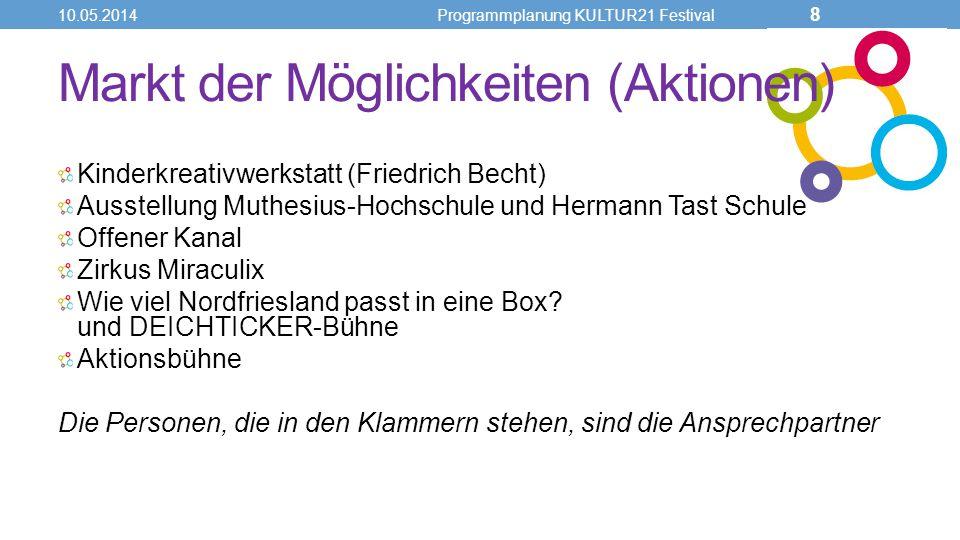 Markt der Möglichkeiten (Aktionen) Kinderkreativwerkstatt (Friedrich Becht) Ausstellung Muthesius-Hochschule und Hermann Tast Schule Offener Kanal Zir