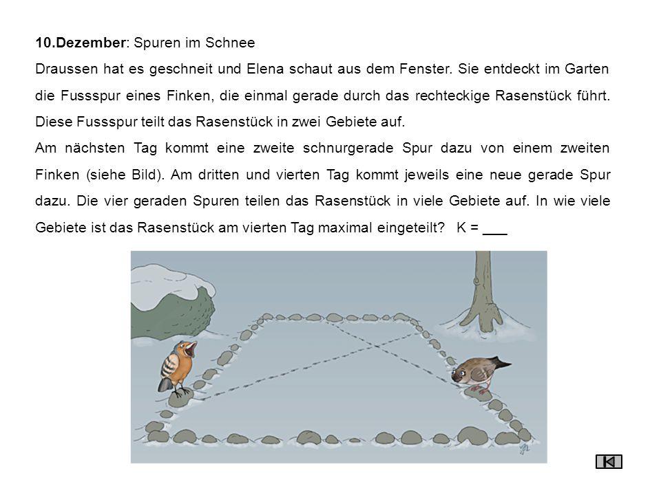 11.Dezember: Spuren im Schnee (2) Der Samichlaus darf noch drei Familien Geschenke bringen, bevor er endlich Feierabend machen kann.