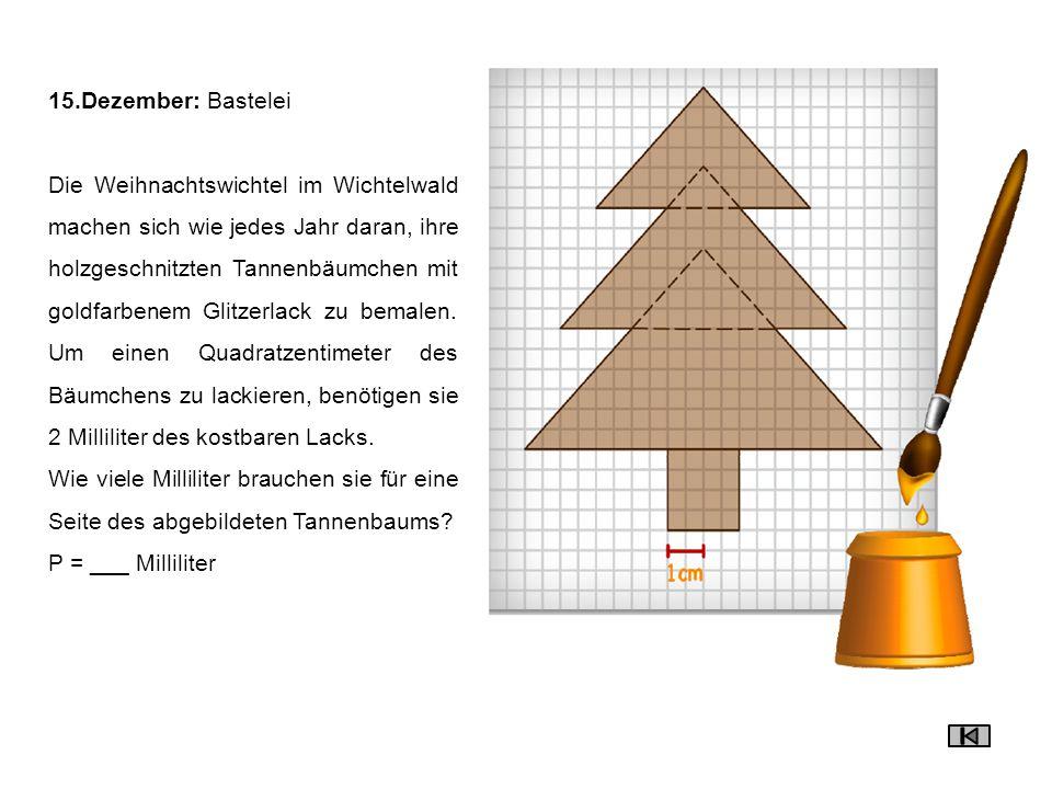 15.Dezember: Bastelei Die Weihnachtswichtel im Wichtelwald machen sich wie jedes Jahr daran, ihre holzgeschnitzten Tannenbäumchen mit goldfarbenem Gli