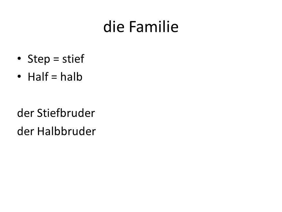 die Familie Step = stief Half = halb der Stiefbruder der Halbbruder