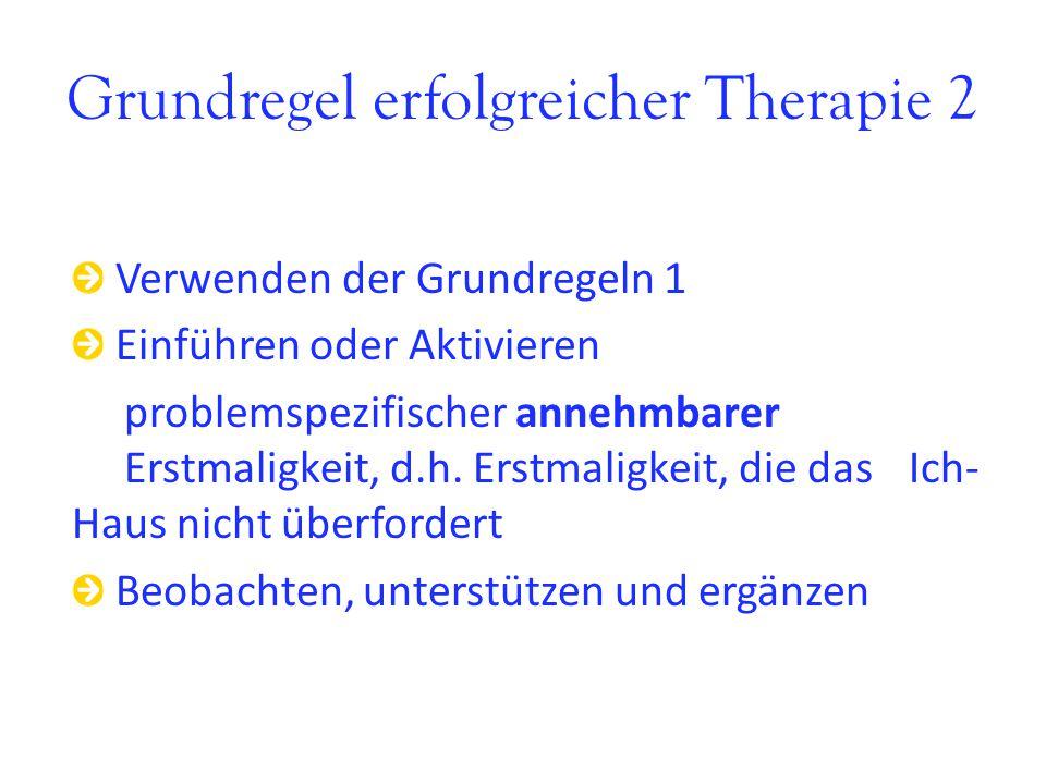 Grundregel erfolgreicher Therapie 2 Verwenden der Grundregeln 1 Einführen oder Aktivieren problemspezifischer annehmbarer Erstmaligkeit, d.h. Erstmali