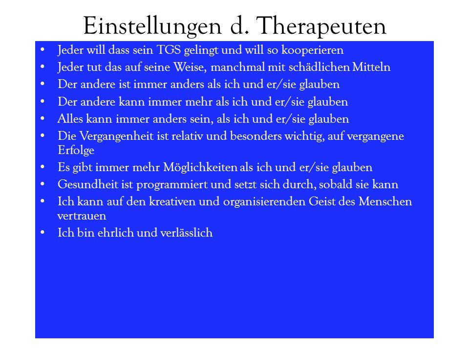 Einstellungen d. Therapeuten Jeder will dass sein TGS gelingt und will so kooperieren Jeder tut das auf seine Weise, manchmal mit schädlichen Mitteln
