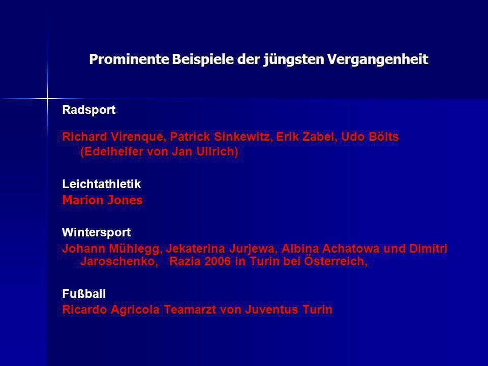 Prominente Beispiele der jüngsten Vergangenheit Radsport Richard Virenque, Patrick Sinkewitz, Erik Zabel, Udo Bölts (Edelhelfer von Jan Ullrich) Leich