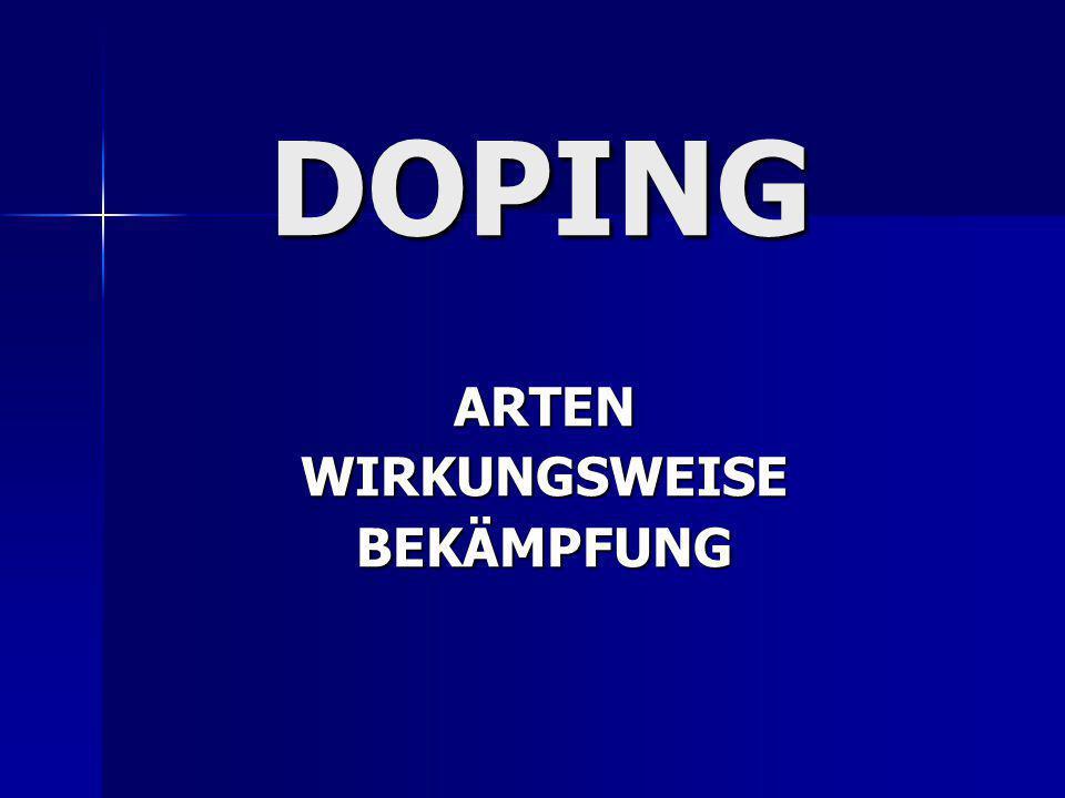 DOPING ARTENWIRKUNGSWEISEBEKÄMPFUNG