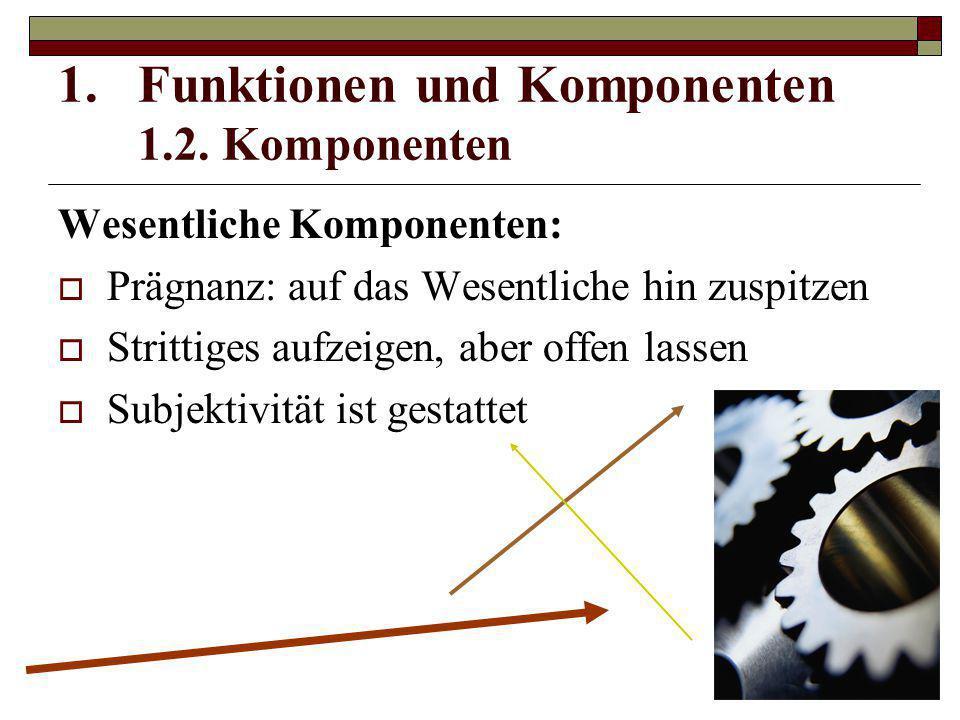 Wesentliche Komponenten:  Prägnanz: auf das Wesentliche hin zuspitzen  Strittiges aufzeigen, aber offen lassen  Subjektivität ist gestattet 1.Funkt