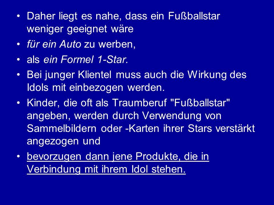 Daher liegt es nahe, dass ein Fußballstar weniger geeignet wäre für ein Auto zu werben, als ein Formel 1-Star. Bei junger Klientel muss auch die Wirku
