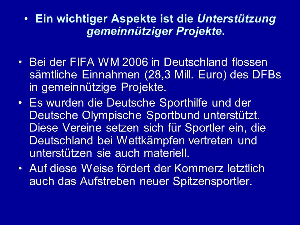 Ein wichtiger Aspekte ist die Unterstützung gemeinnütziger Projekte. Bei der FIFA WM 2006 in Deutschland flossen sämtliche Einnahmen (28,3 Mill. Euro)