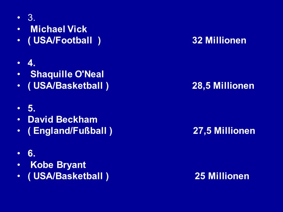 3. Michael Vick ( USA/Football ) 32 Millionen 4. Shaquille O'Neal ( USA/Basketball ) 28,5 Millionen 5. David Beckham ( England/Fußball ) 27,5 Millione