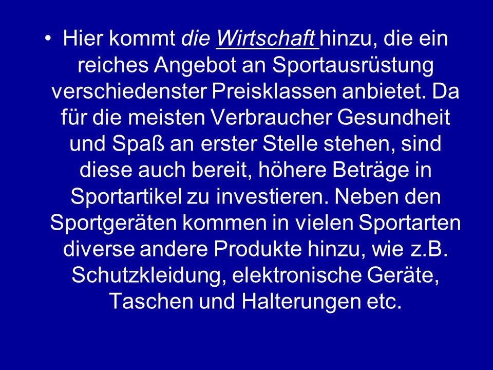 Wie kommt es zu dieser Selektion der verschiedenen Sportarten.