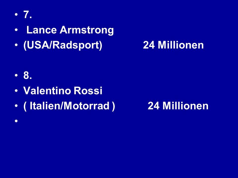 7. Lance Armstrong (USA/Radsport) 24 Millionen 8. Valentino Rossi ( Italien/Motorrad ) 24 Millionen
