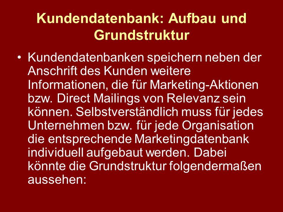 Kundendatenbank: Aufbau und Grundstruktur Kundendatenbanken speichern neben der Anschrift des Kunden weitere Informationen, die für Marketing-Aktionen bzw.