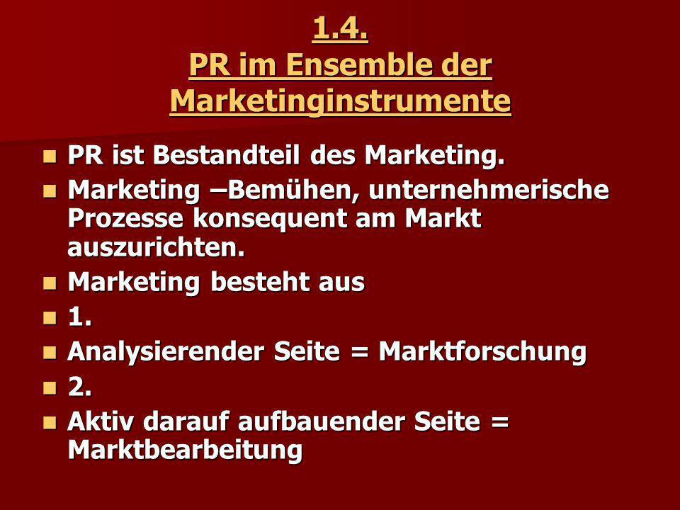 1.4. PR im Ensemble der Marketinginstrumente PR ist Bestandteil des Marketing. PR ist Bestandteil des Marketing. Marketing –Bemühen, unternehmerische