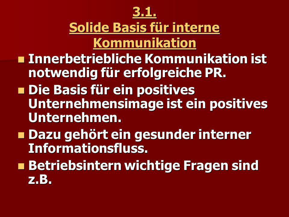3.1. Solide Basis für interne Kommunikation Innerbetriebliche Kommunikation ist notwendig für erfolgreiche PR. Innerbetriebliche Kommunikation ist not