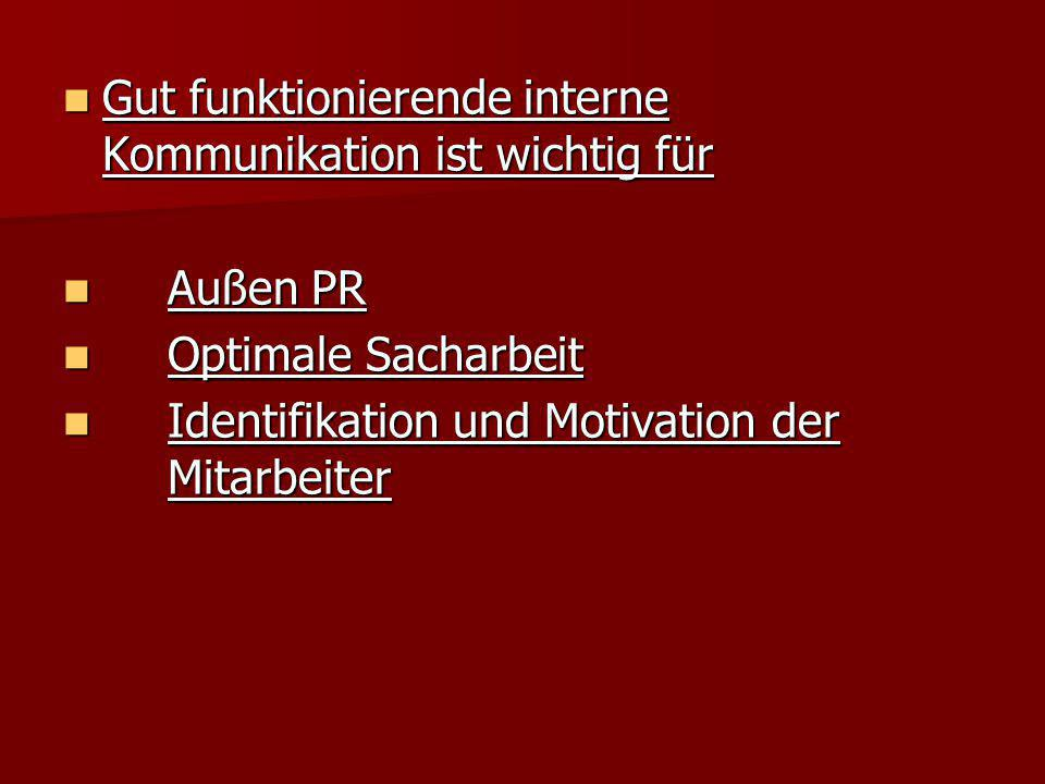 Gut funktionierende interne Kommunikation ist wichtig für Gut funktionierende interne Kommunikation ist wichtig für Außen PR Außen PR Optimale Sacharb