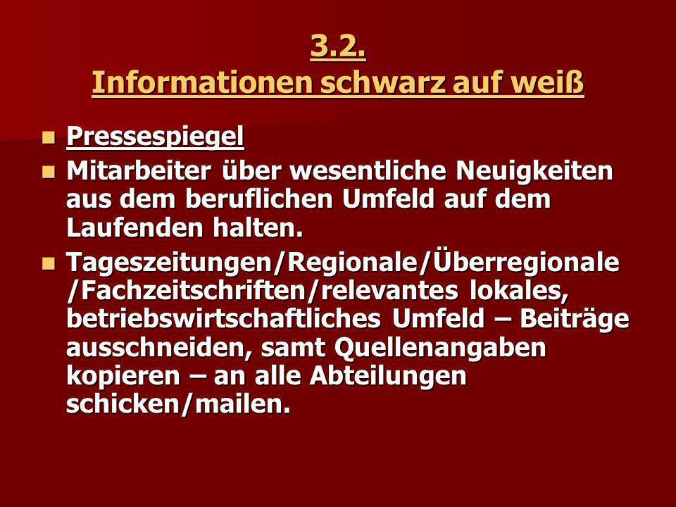 3.2. Informationen schwarz auf weiß Pressespiegel Pressespiegel Mitarbeiter über wesentliche Neuigkeiten aus dem beruflichen Umfeld auf dem Laufenden