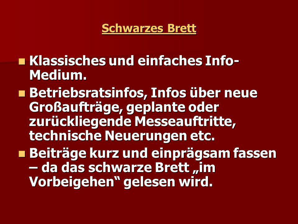 Schwarzes Brett Klassisches und einfaches Info- Medium.