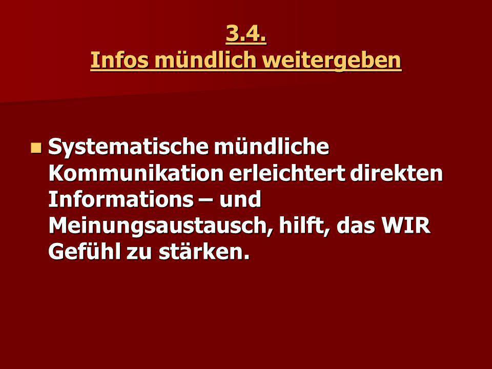 3.4. Infos mündlich weitergeben Systematische mündliche Kommunikation erleichtert direkten Informations – und Meinungsaustausch, hilft, das WIR Gefühl