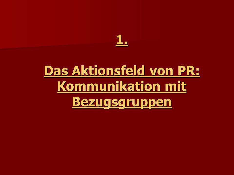 1. Das Aktionsfeld von PR: Kommunikation mit Bezugsgruppen