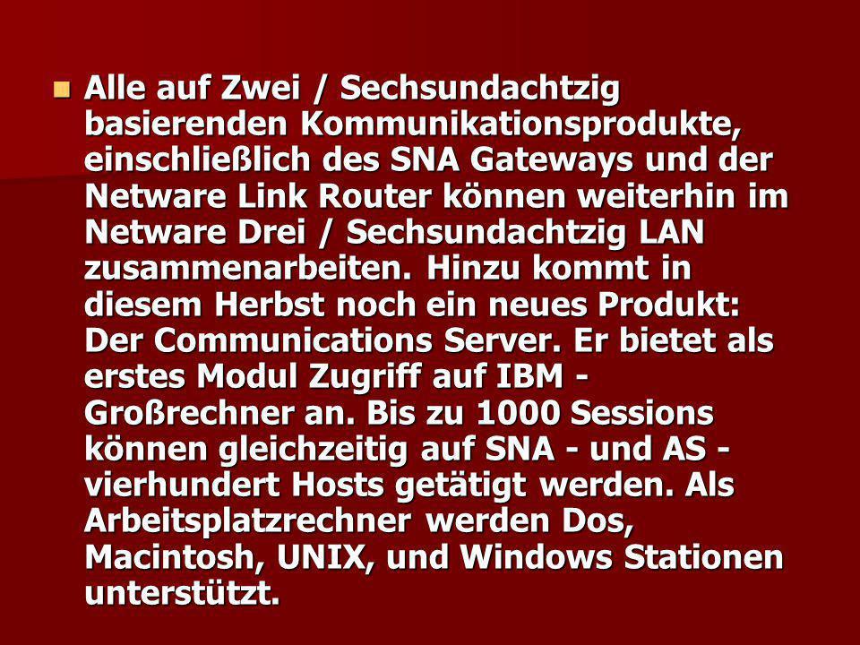 Alle auf Zwei / Sechsundachtzig basierenden Kommunikationsprodukte, einschließlich des SNA Gateways und der Netware Link Router können weiterhin im Ne