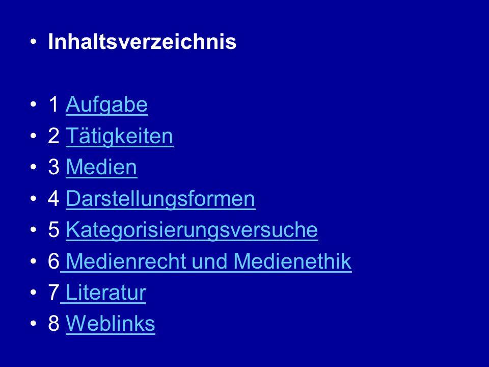Inhaltsverzeichnis 1 AufgabeAufgabe 2 TätigkeitenTätigkeiten 3 MedienMedien 4 DarstellungsformenDarstellungsformen 5 KategorisierungsversucheKategoris