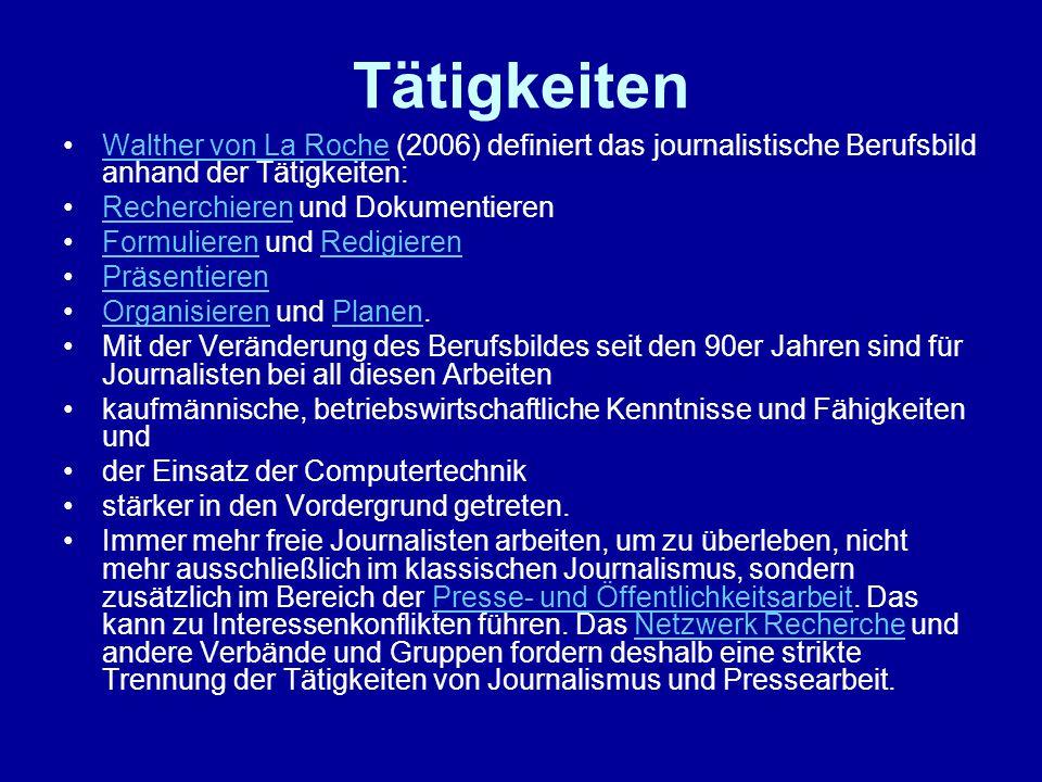 Tätigkeiten Walther von La Roche (2006) definiert das journalistische Berufsbild anhand der Tätigkeiten:Walther von La Roche Recherchieren und Dokumen
