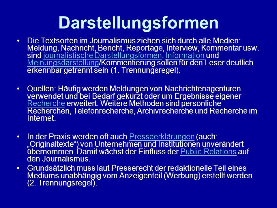 Kategorisierungsversuche Nach den journalistischen Handlungsrollen unterscheiden die Kommunikationswissenschaftler Ulrich Saxer und Siegfried Weischenberg zwischenUlrich SaxerSiegfried Weischenberg Informationsjournalismus (Vermittler) investigativem Journalismus (Wachhund, Anwalt)investigativem Journalismus interpretativem Journalismus (Erklärer)interpretativem Journalismus sozialwissenschaftlichem Journalismus (Forscher) New Journalism (Erzähler).New Journalism Diese journalistischen Rollenbilder sind jedoch nie in idealtypischer Ausprägung anzutreffen.