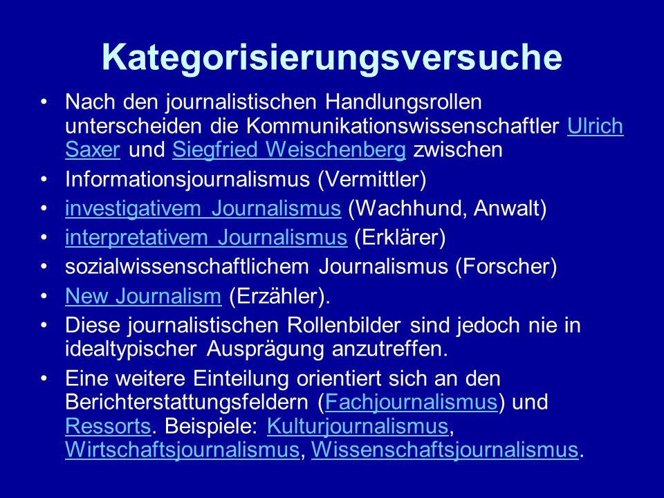 Kategorisierungsversuche Nach den journalistischen Handlungsrollen unterscheiden die Kommunikationswissenschaftler Ulrich Saxer und Siegfried Weischen
