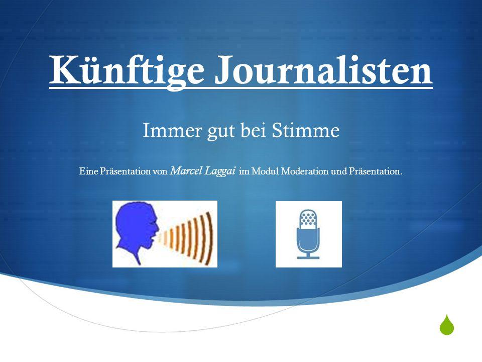 Künftige Journalisten Immer gut bei Stimme Eine Präsentation von Marcel Laggai im Modul Moderation und Präsentation.