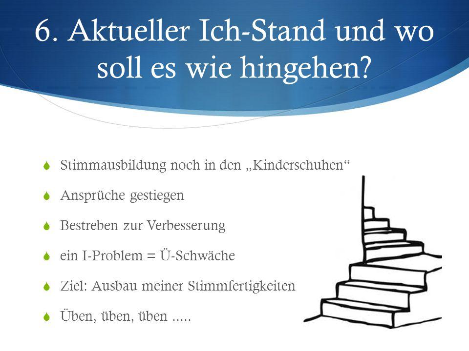 """6. Aktueller Ich-Stand und wo soll es wie hingehen?  Stimmausbildung noch in den """"Kinderschuhen""""  Ansprüche gestiegen  Bestreben zur Verbesserung """