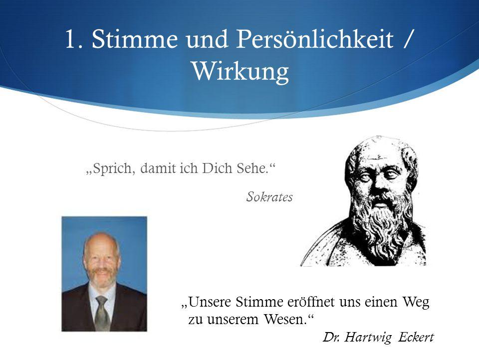 """1. Stimme und Persönlichkeit / Wirkung """"Sprich, damit ich Dich Sehe."""" Sokrates """"Unsere Stimme eröffnet uns einen Weg zu unserem Wesen."""" Dr. Hartwig Ec"""