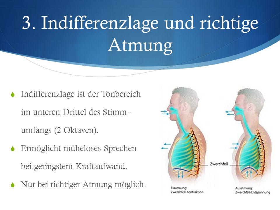 3. Indifferenzlage und richtige Atmung  Indifferenzlage ist der Tonbereich im unteren Drittel des Stimm - umfangs (2 Oktaven).  Ermöglicht müheloses