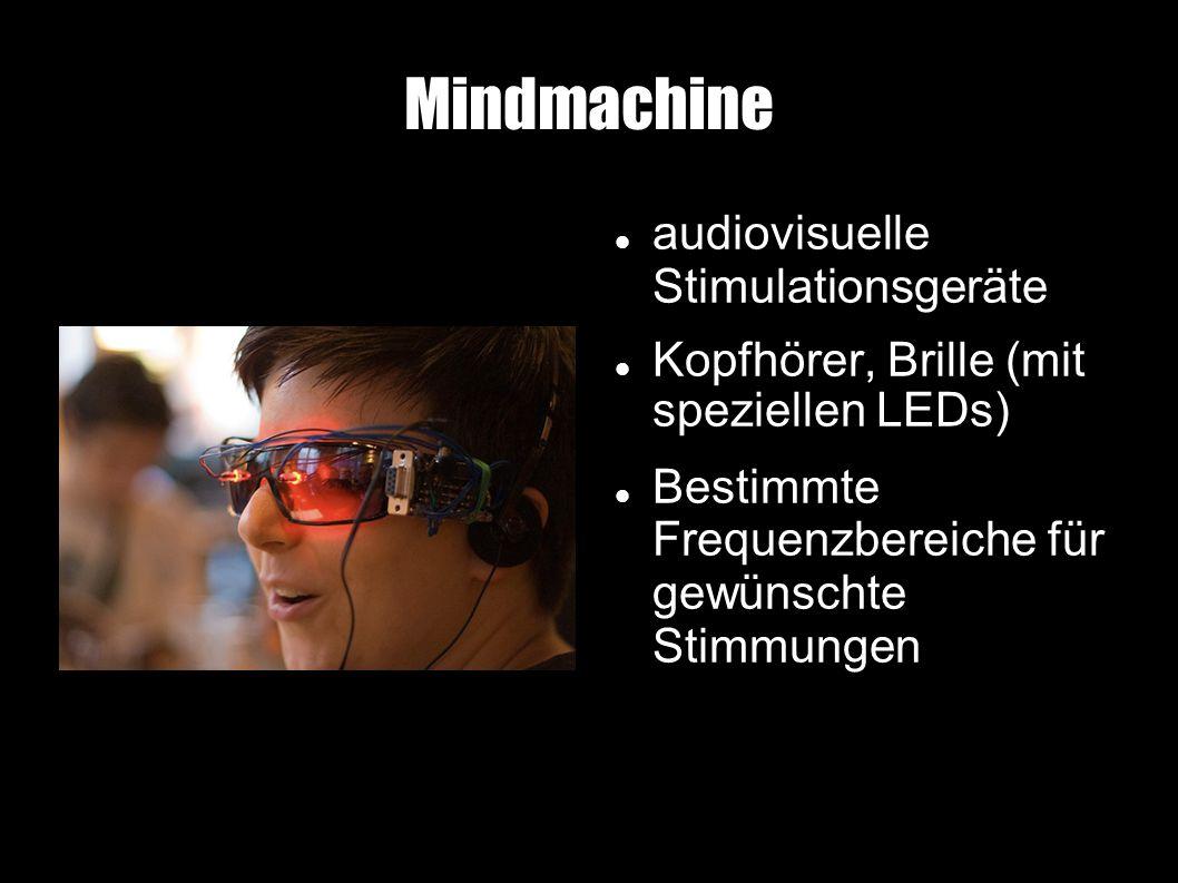 Mindmachine audiovisuelle Stimulationsgeräte Kopfhörer, Brille (mit speziellen LEDs) Bestimmte Frequenzbereiche für gewünschte Stimmungen