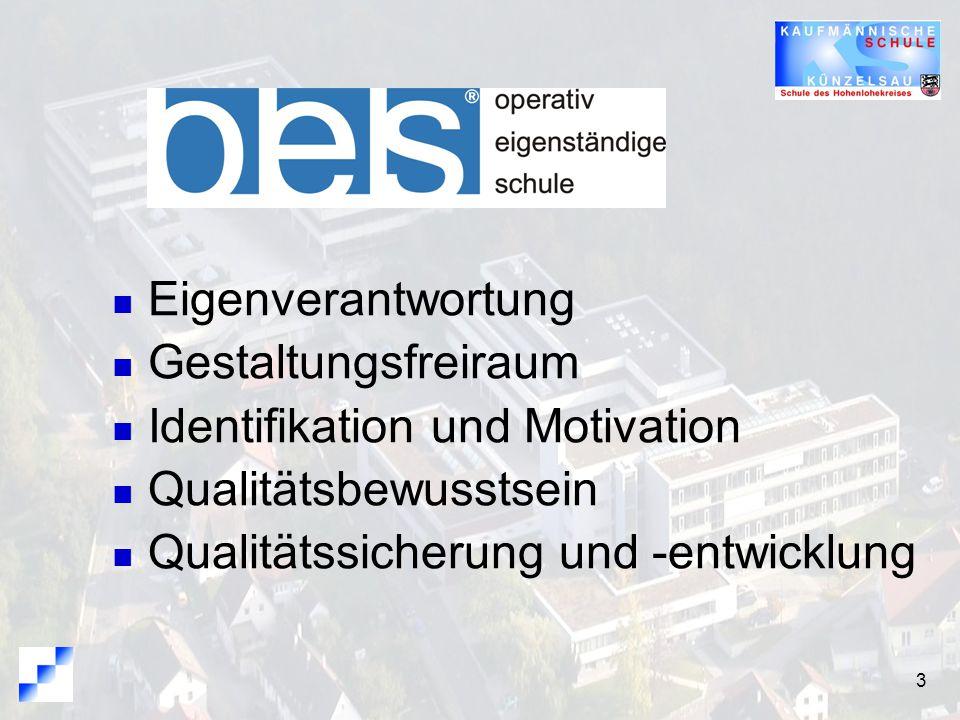 3 Eigenverantwortung Gestaltungsfreiraum Identifikation und Motivation Qualitätsbewusstsein Qualitätssicherung und -entwicklung