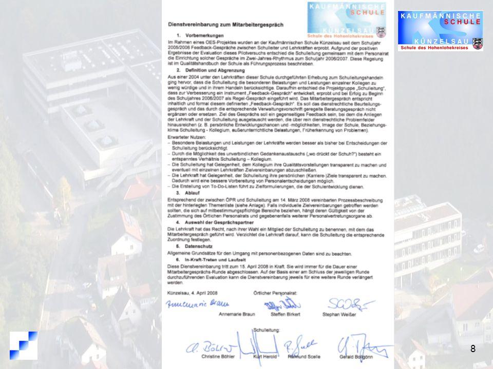 9 Dienstvereinbarung Entwicklungsbezug und Abgrenzung Nutzen Ablauf Gesprächspartner Datenschutz Laufzeit