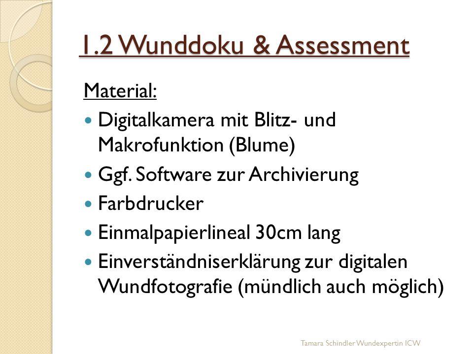 1.2 Wunddoku & Assessment Material: Digitalkamera mit Blitz- und Makrofunktion (Blume) Ggf. Software zur Archivierung Farbdrucker Einmalpapierlineal 3