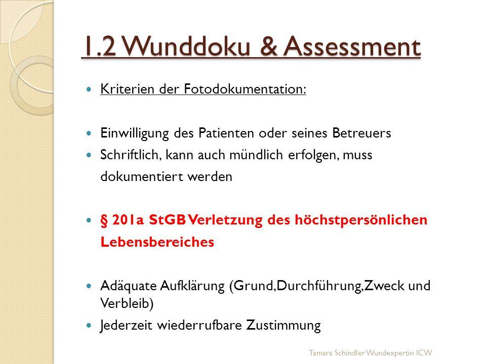 1.2 Wunddoku & Assessment Kriterien der Fotodokumentation: Einwilligung des Patienten oder seines Betreuers Schriftlich, kann auch mündlich erfolgen,