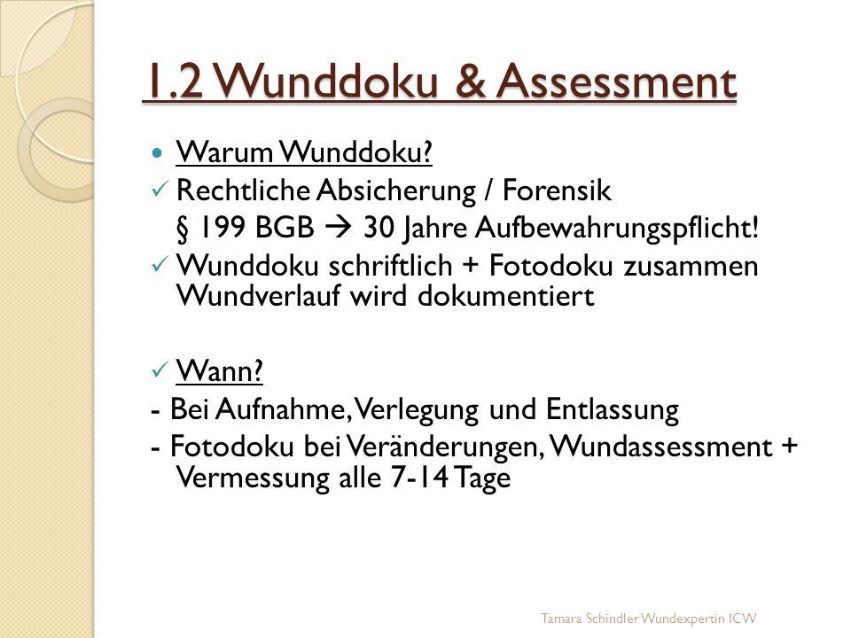 1.2 Wunddoku & Assessment Warum Wunddoku? Rechtliche Absicherung / Forensik § 199 BGB  30 Jahre Aufbewahrungspflicht! Wunddoku schriftlich + Fotodoku