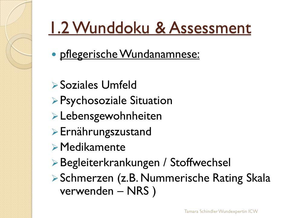 1.2 Wunddoku & Assessment pflegerische Wundanamnese:  Soziales Umfeld  Psychosoziale Situation  Lebensgewohnheiten  Ernährungszustand  Medikament