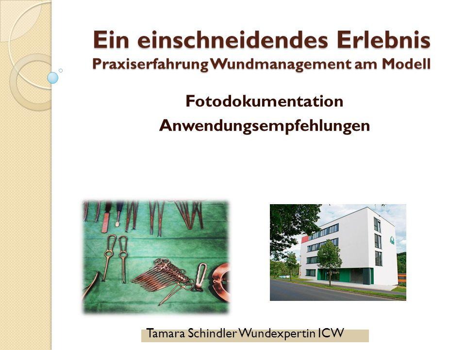Ein einschneidendes Erlebnis Praxiserfahrung Wundmanagement am Modell Fotodokumentation Anwendungsempfehlungen Tamara Schindler Wundexpertin ICW