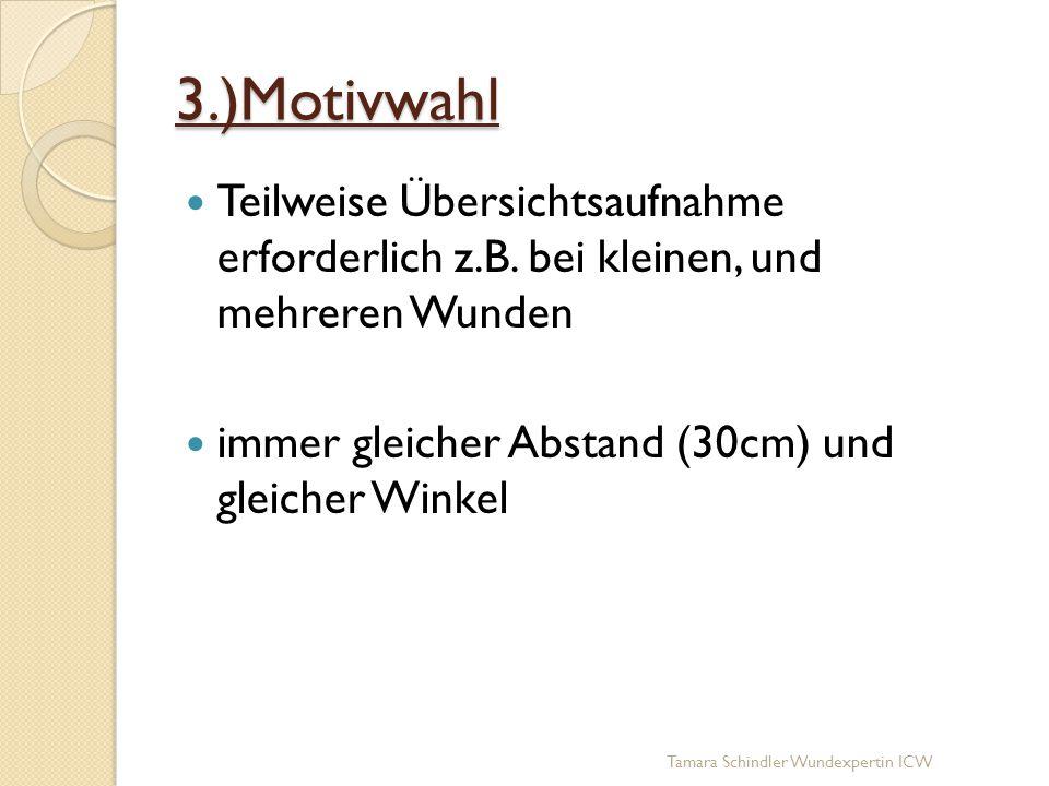 3.)Motivwahl Teilweise Übersichtsaufnahme erforderlich z.B. bei kleinen, und mehreren Wunden immer gleicher Abstand (30cm) und gleicher Winkel Tamara