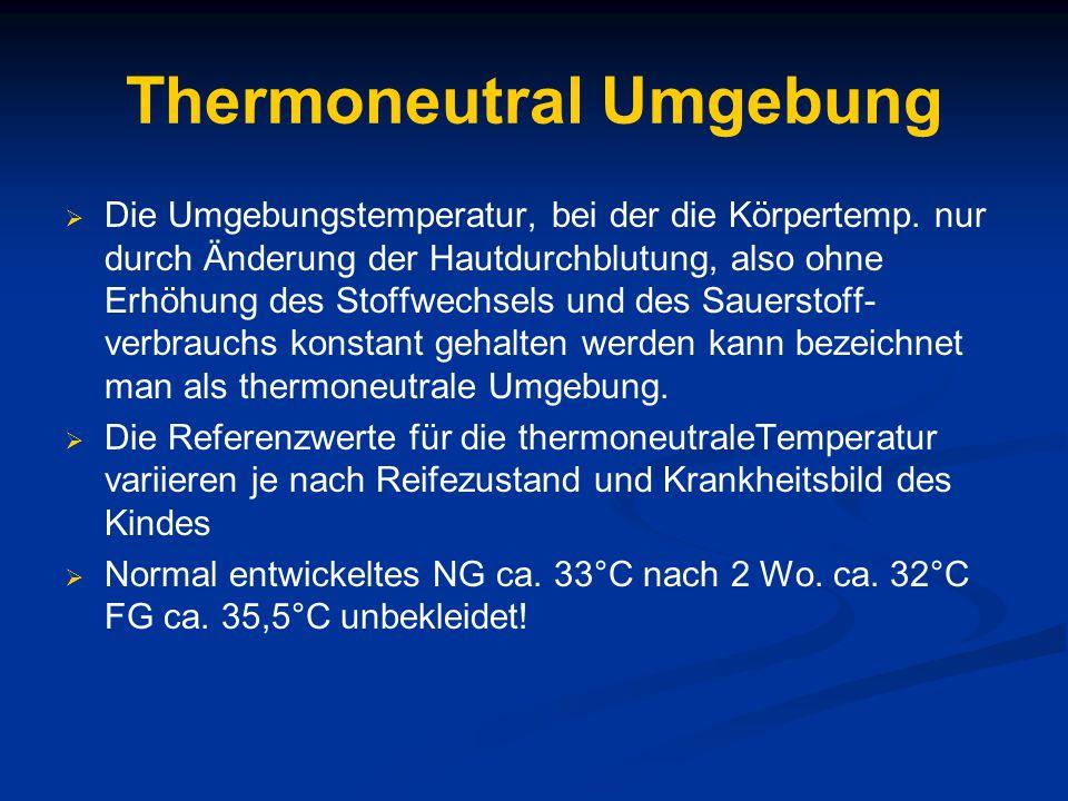 Thermoneutral Umgebung  Die Umgebungstemperatur, bei der die Körpertemp.