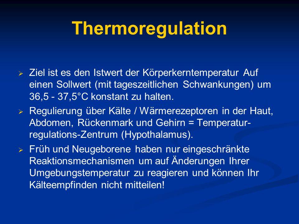 Therapie der Hyperthermie Beseitigung der Ursachen  Ausreichende Flüssigkeitstherapie  Inkubatortemperatur justieren  Bis 38°C subfebril, bis 38,5°C leichtes, bis 39°C mäßiges, bis 39,9°C hohes Fieber, bis 42° sehr hohes Fieber  Fiebersenkende Massnahmen einleiten >40°C  Medikamentöse Therapie gegen Fieber möglichst vermeiden, da Fieber physiologisch und als Helfer des Therapeuten angesehen werden darf, sofern hohe Temperaturen nicht kontra-indiziert, z.B.