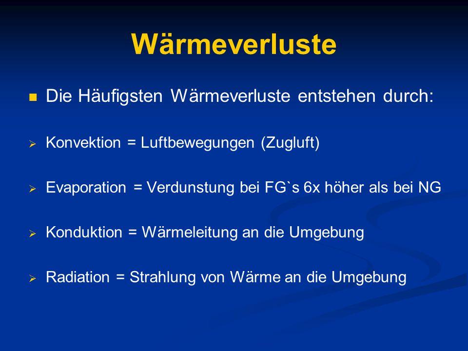 Wärmeverluste Die Häufigsten Wärmeverluste entstehen durch:  Konvektion = Luftbewegungen (Zugluft)  Evaporation = Verdunstung bei FG`s 6x höher als bei NG  Konduktion = Wärmeleitung an die Umgebung  Radiation = Strahlung von Wärme an die Umgebung