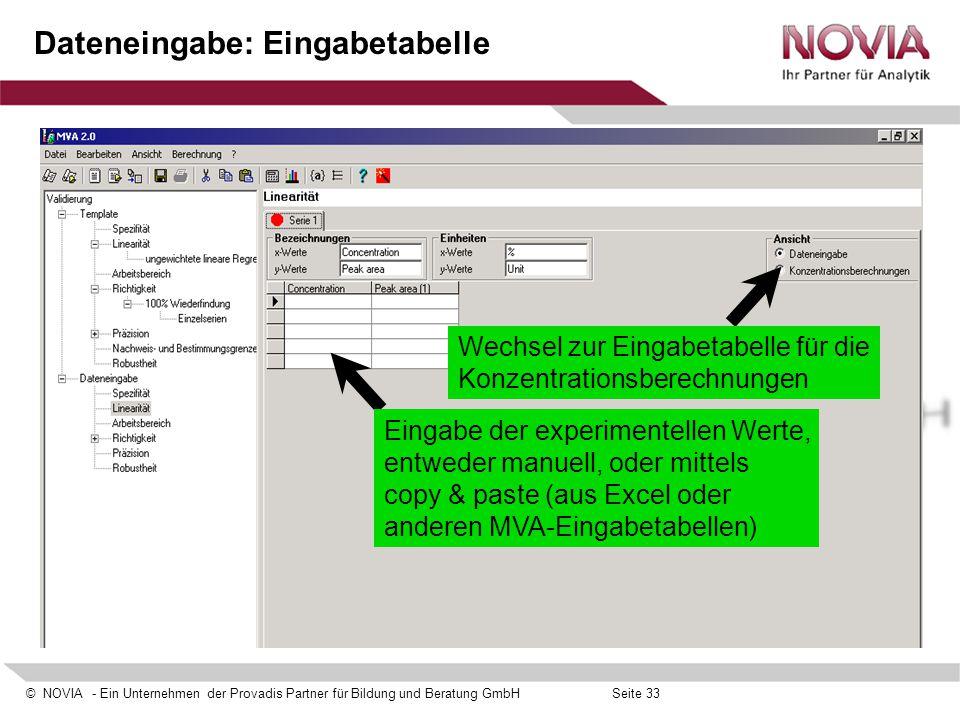 © NOVIA - Ein Unternehmen der Provadis Partner für Bildung und Beratung GmbHSeite 33 Dateneingabe: Eingabetabelle Eingabe der experimentellen Werte, e