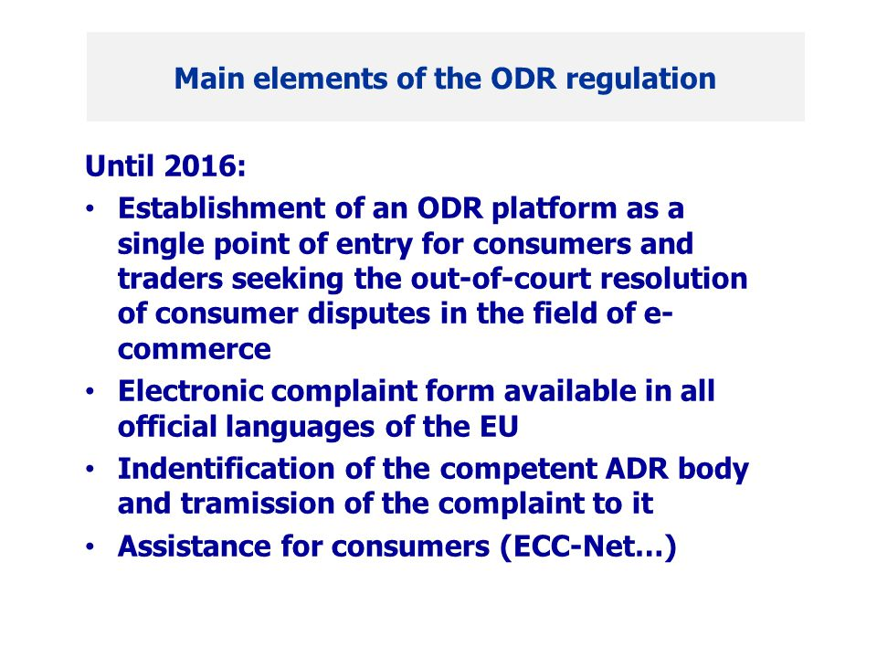 """Start in 2009: """"One who buys online would also want to complain online Strict respect of the quality criteria of recommendation 98/257/EC; thus a notified ADR body on EU-level Cooperation with the ECC-Net A glance at the future - Experiences with the Online-Schlichter"""